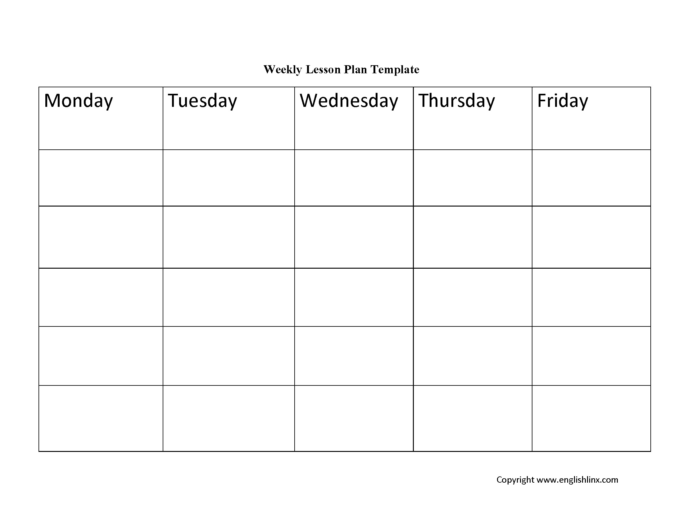 Weekly Lesson Plan Template Lesson Plan Template