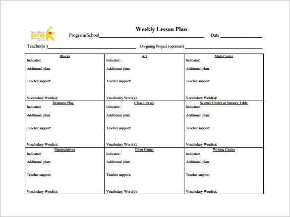 Weekly Lesson Plan Template Weekly Lesson Plan Template 9 Free Word Excel Pdf