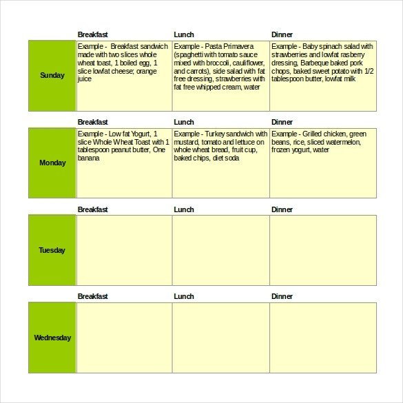 Weekly Meal Planner Template Excel 47 Menu Templates Free Excel Pdf Word Psd