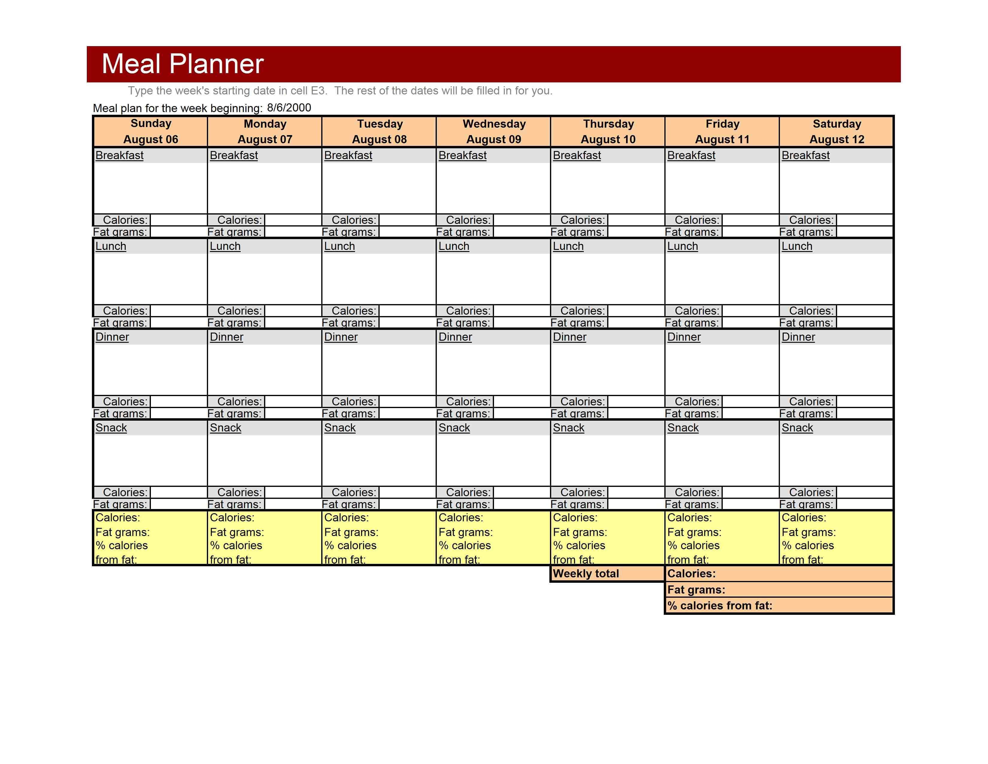 Weekly Meal Planner Template Excel Family Archives Free Microsoft Excel Templates and