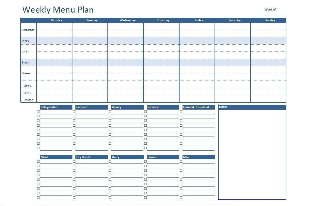 Weekly Meal Planner Template Excel Free Excel Weekly Menu Plan Template Dowload