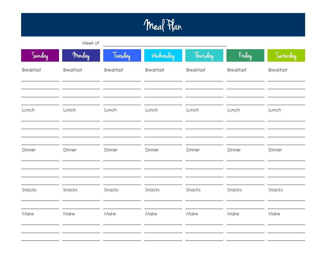 Weekly Meal Planner Template Excel Grocery List Template Excel