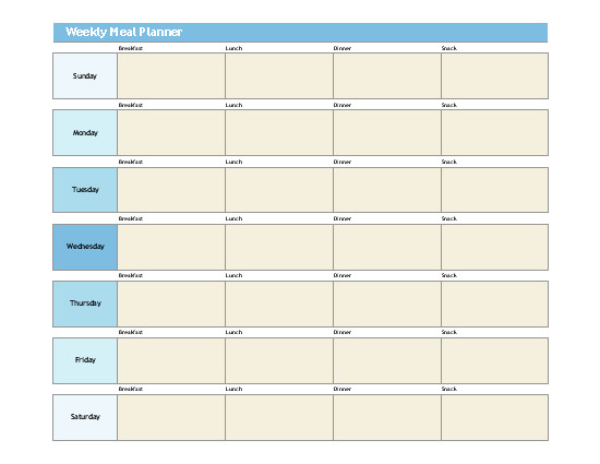 Weekly Meal Planner Template Excel Simple Meal Planner