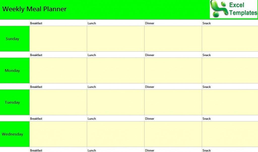 Weekly Meal Planner Template Excel Weekly Meal Planner Excel Template