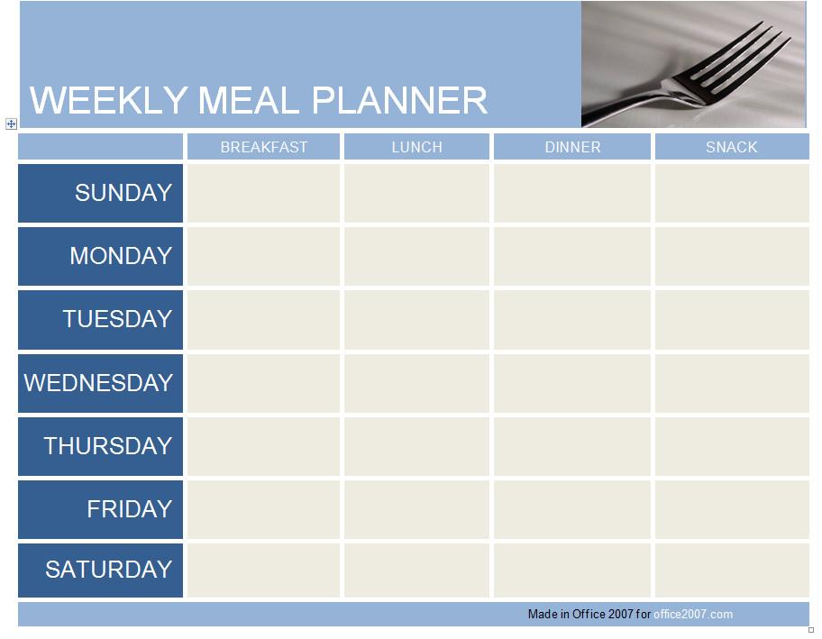 Weekly Meal Planner Template Excel Weekly Meal Planner Template