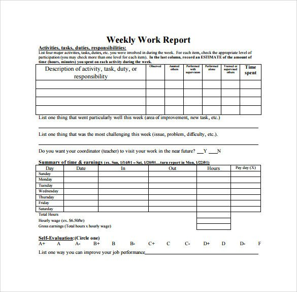 Weekly Sales Reports Templates Weekly Report Template 12 Download Free Documents In Pdf