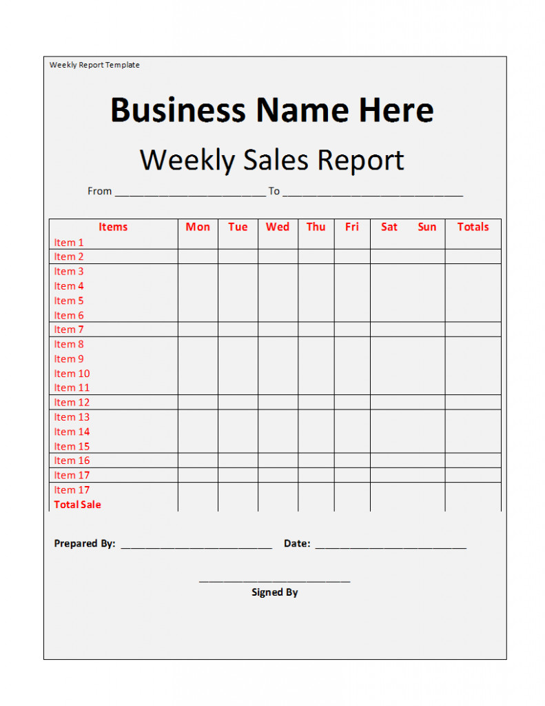 Weekly Sales Reports Templates Weekly Report Template