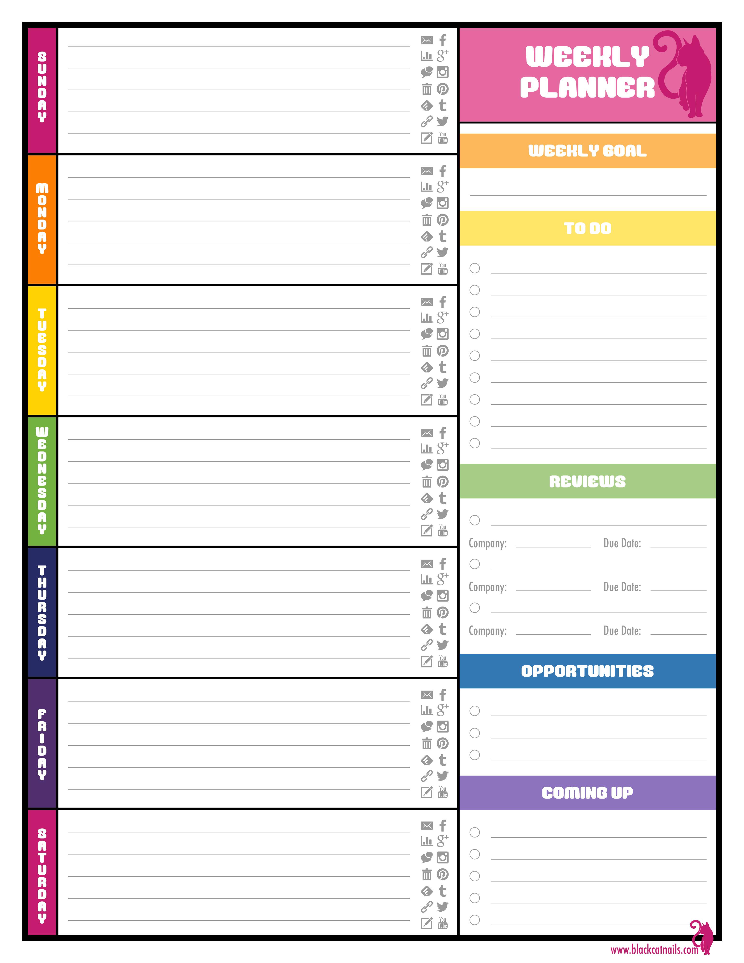 Weekly School Planner Template Colorful Weekly Blogging Planner Image