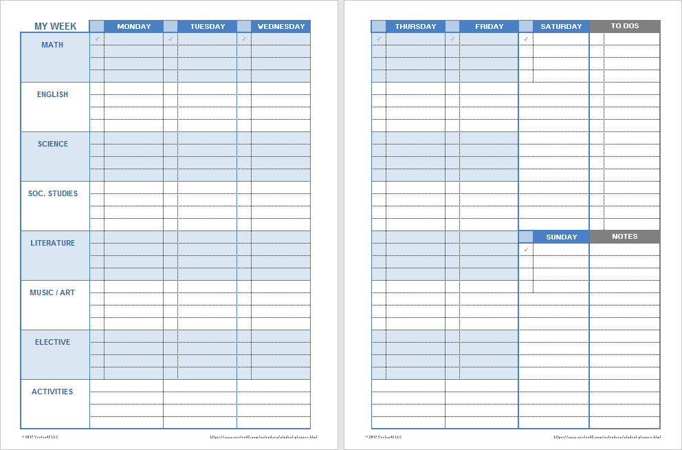 Weekly School Planner Template Download A Free Printable Weekly Student Planner Template