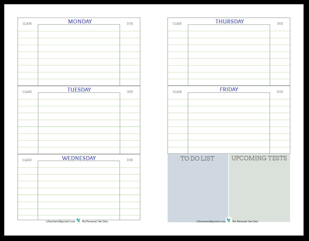Weekly School Planner Template Getting Ready for Back to School Student Planner Printables