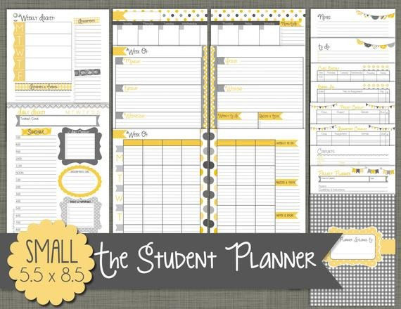 Weekly School Planner Template Student Planner Printable Set Sized Small 5 5 X