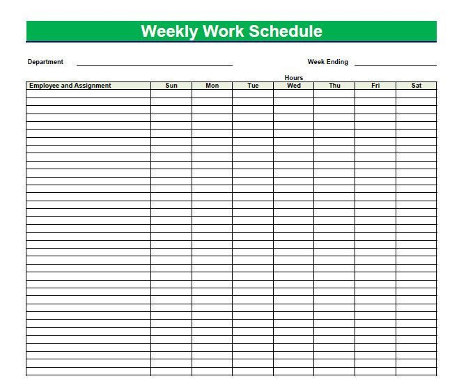 Weekly Time Schedule Template Blank Time Sheets for Employees
