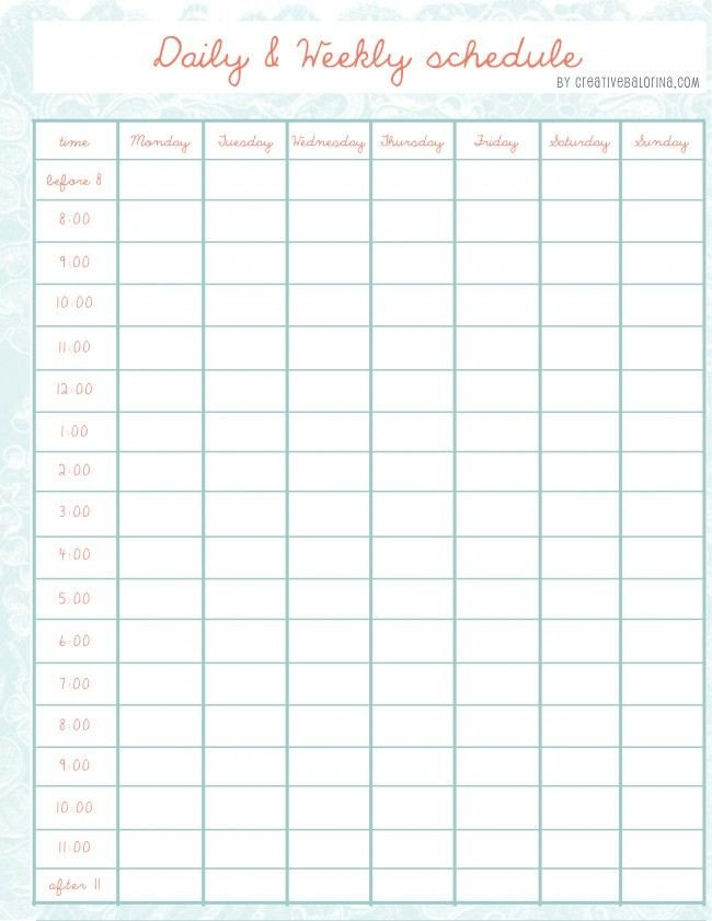 Weekly Time Schedule Template Daily Weekly Schedule Template More Schedule Templates