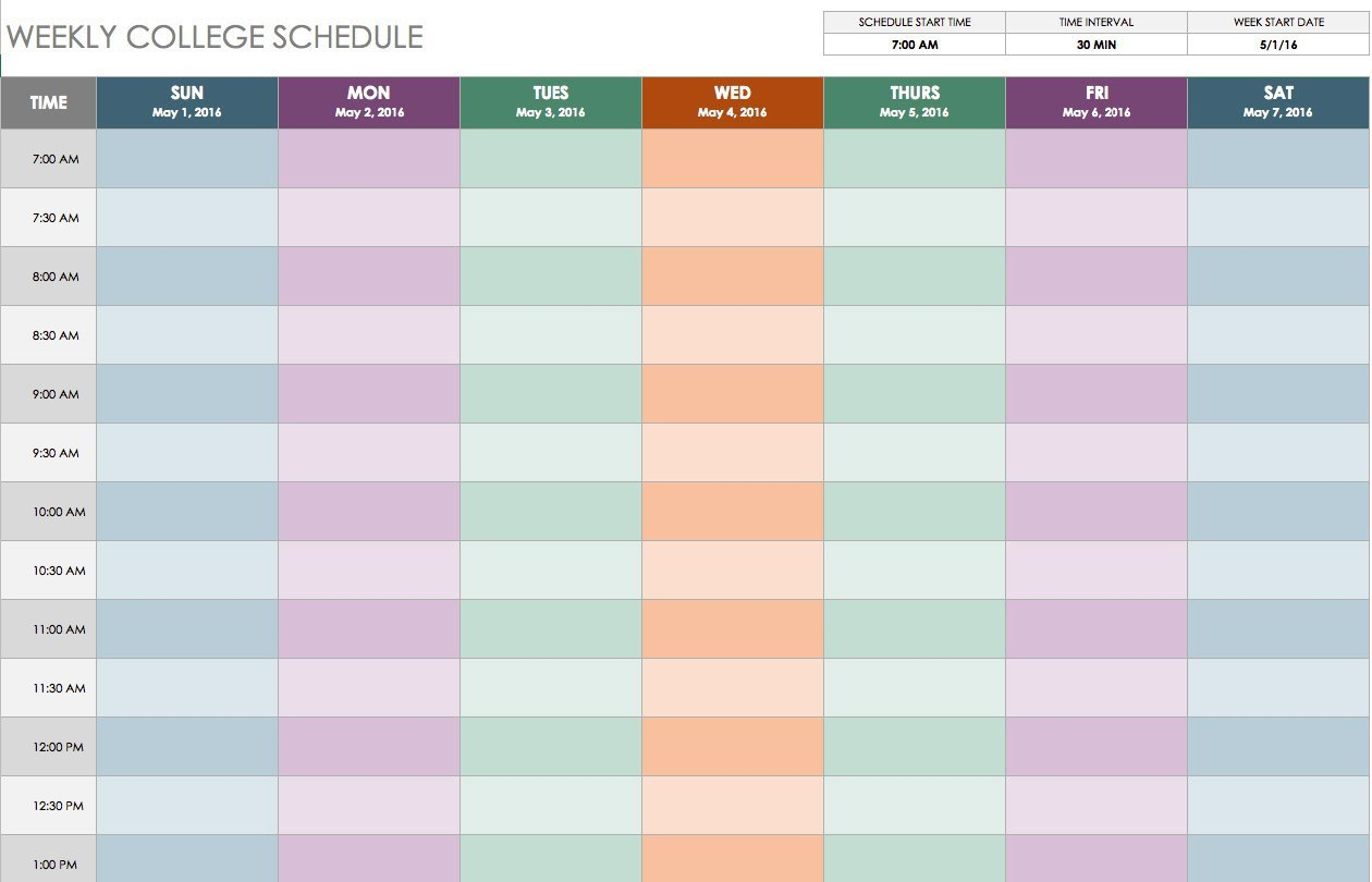 Weekly Time Schedule Template Free Weekly Schedule Templates for Excel Smartsheet