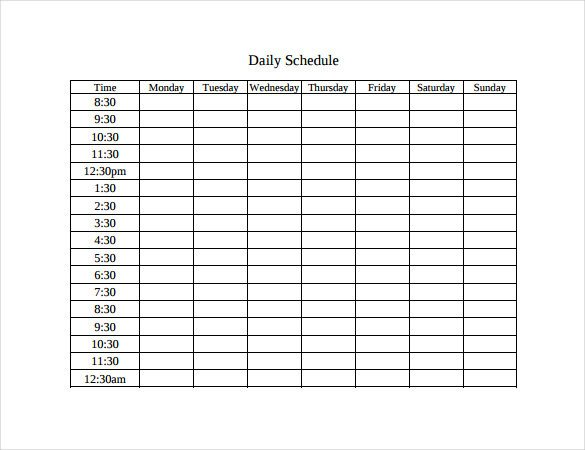Weekly Time Schedule Template Timetable Templates – 14 Free Word Pdf Documents