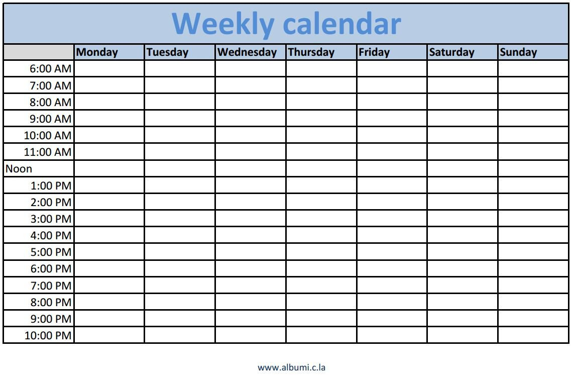 Weekly Time Schedule Template Weekly Calendars with Times Printable