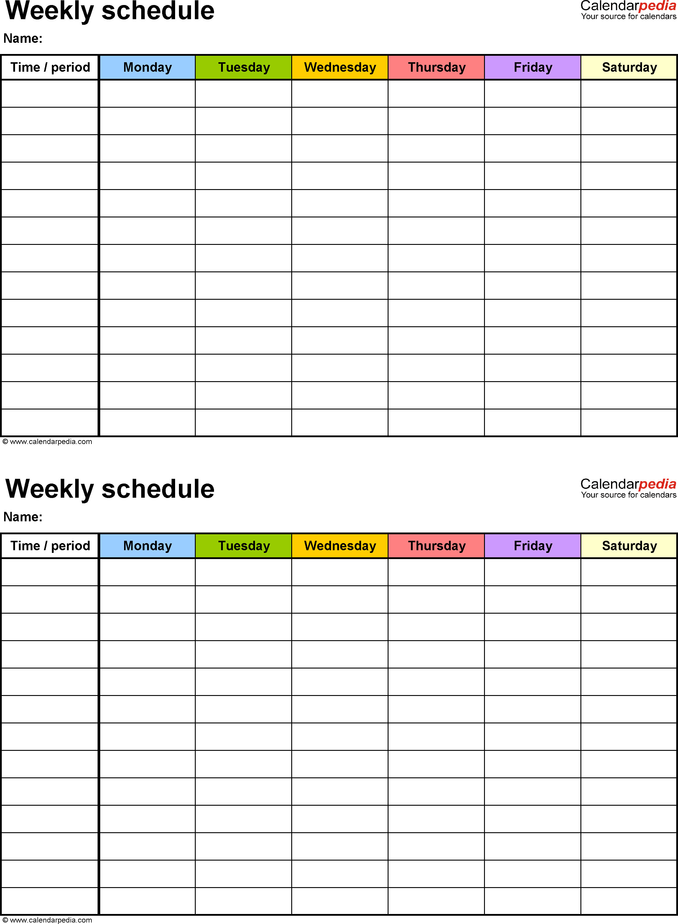 Weekly Time Schedule Template Weekly Schedule Template for Word Version 9 2 Schedules