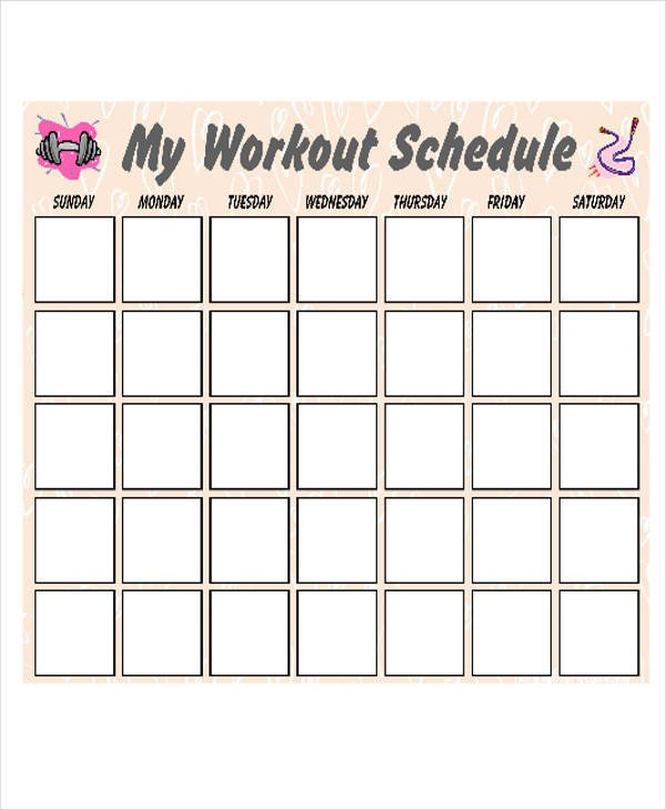 Weekly Workout Schedule Template 30 Calendar Samples & Templates In Pdf