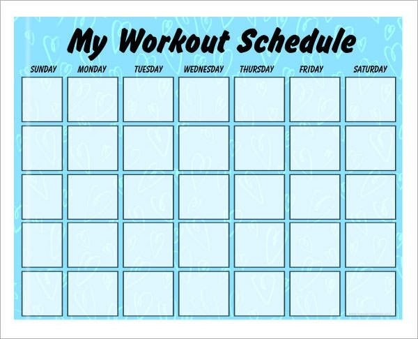 Weekly Workout Schedule Template 4 Sample Workout Schedule 4 Documents In Excel Pdf