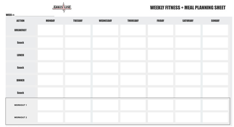 Weekly Workout Schedule Template Adrenaline 12 Week Petition