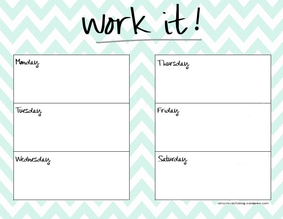 Weekly Workout Schedule Template Cute Weekly Planner Template Happy Planner