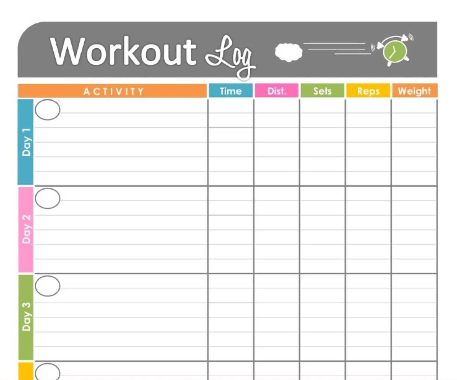 Weekly Workout Schedule Template Free Printable Workout Schedule