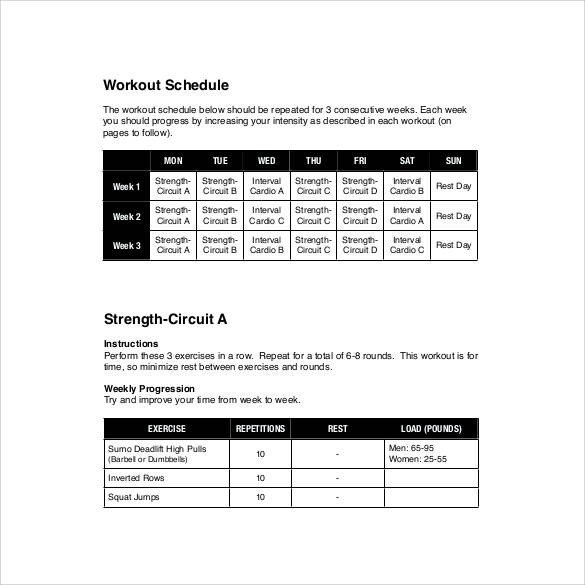 Weekly Workout Schedule Template Sample Weekly Schedule Template 35 Documents In Psd