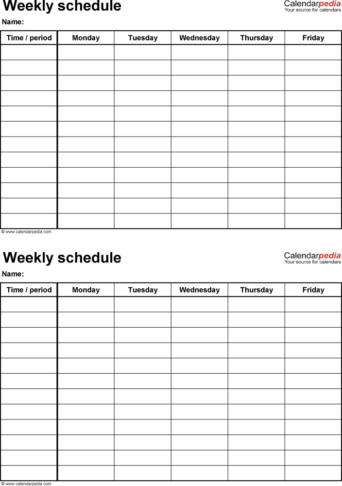 Weekly Workout Schedule Template Weekly Schedule Template for Pdf Version 4 2 Schedules On