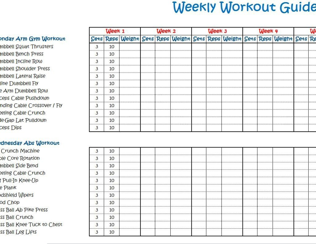 Weekly Workout Schedule Template Weekly Workout Schedule