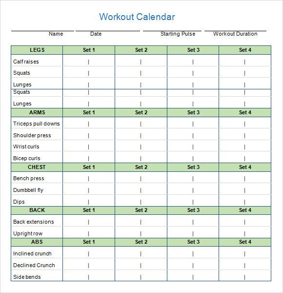 Weekly Workout Schedule Template Workout Calendar Templates 10 Download Documents In Pdf