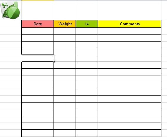 Weight Loss Chart Template Printable Weight Loss Journal