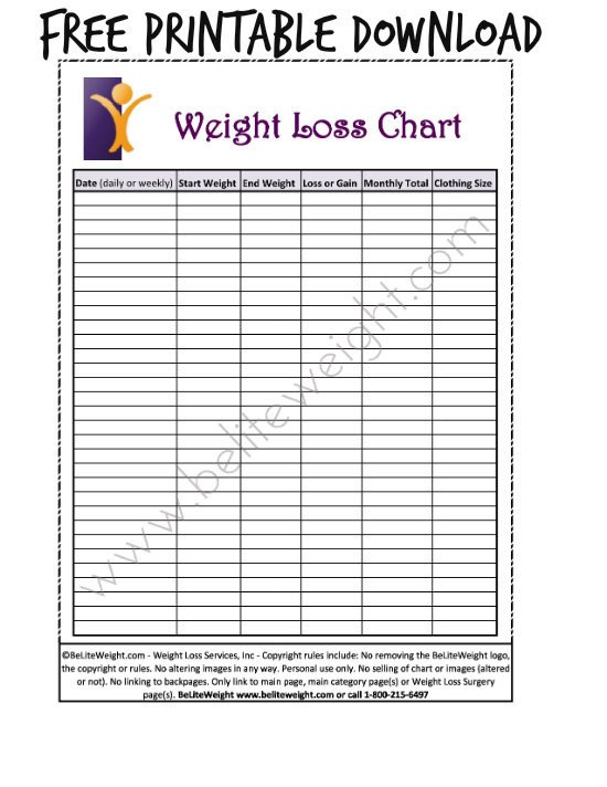 Weight Loss Charts Printable Keeping Track Your Weight Loss Tips & Free Printable