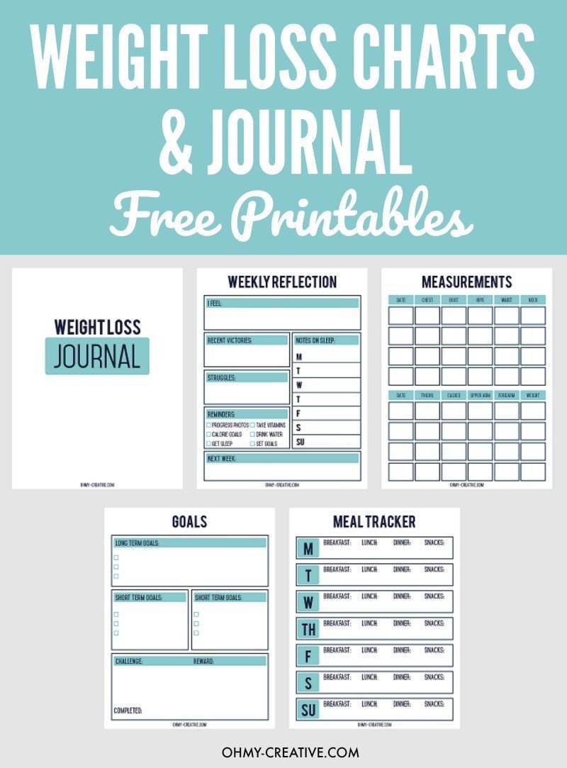 Weight Loss Charts Printable Printable Weight Loss Chart and Journal for Weight Loss
