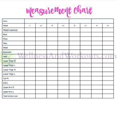 Weight Loss Measurement Charts Free Printable Body Measurement Chart 2016 Board