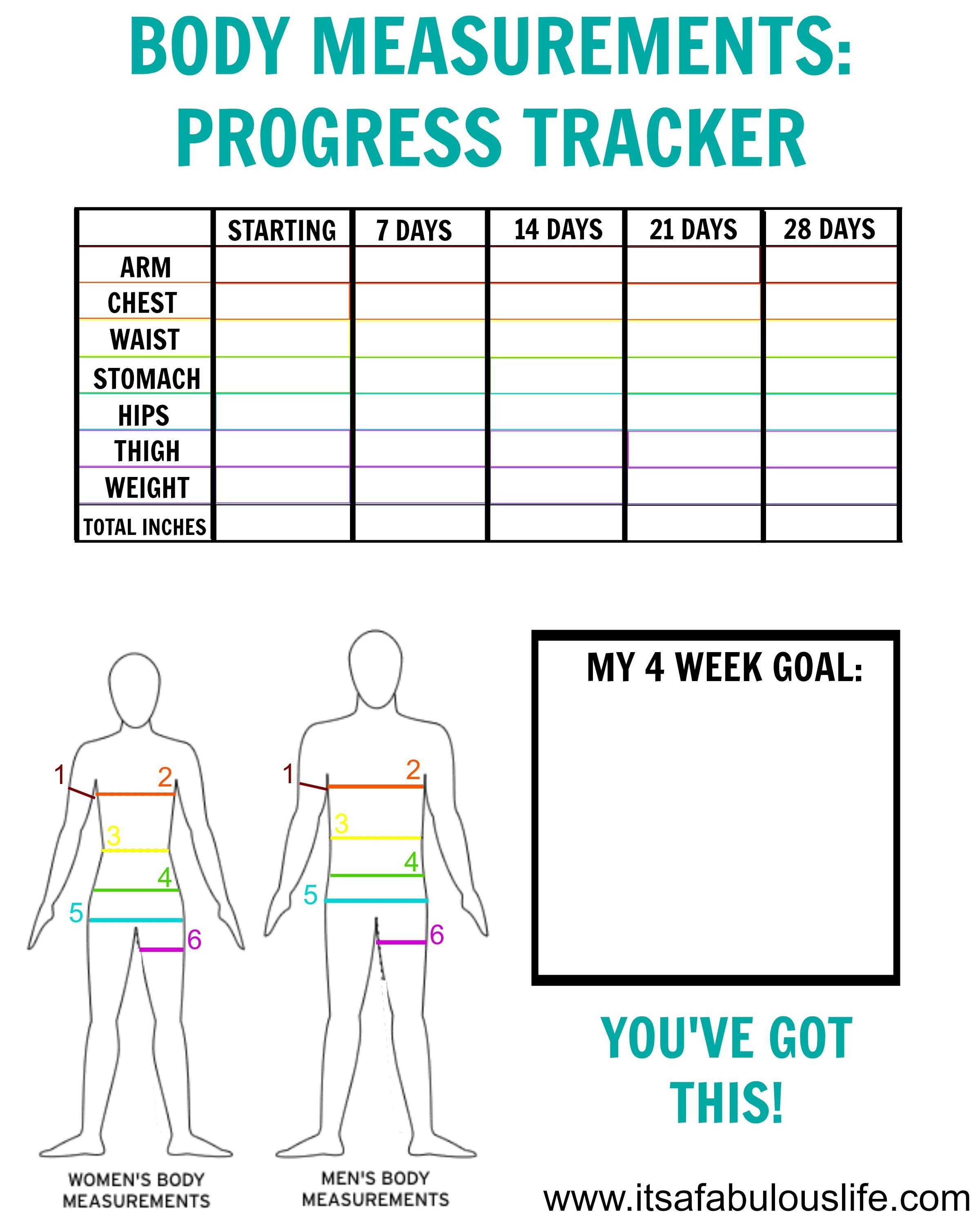 Weight Loss Measurement Charts How to Take Body Measurements Free Printable