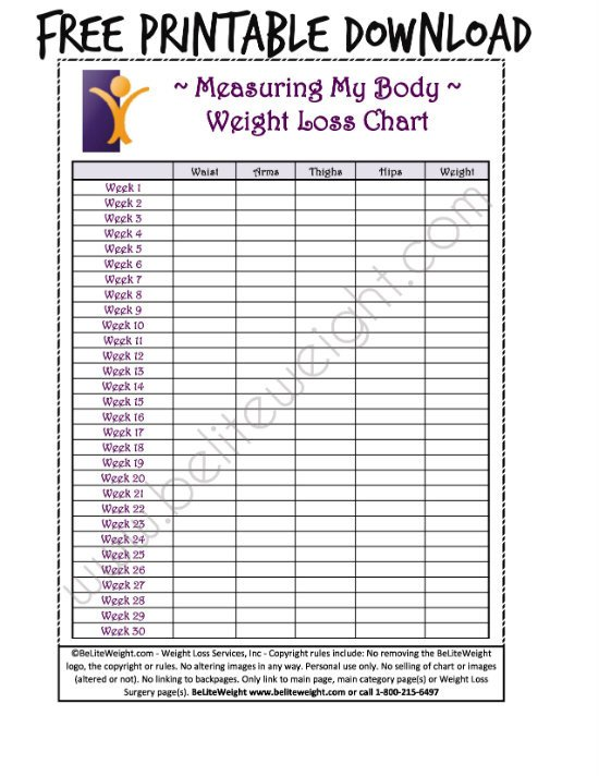 Weight Loss Measurement Charts Keeping Track Your Weight Loss Tips & Free Printable