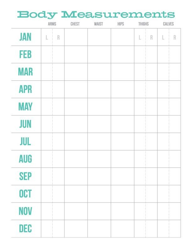 Weight Loss Measurement Charts Monthly Body Measurements Chart