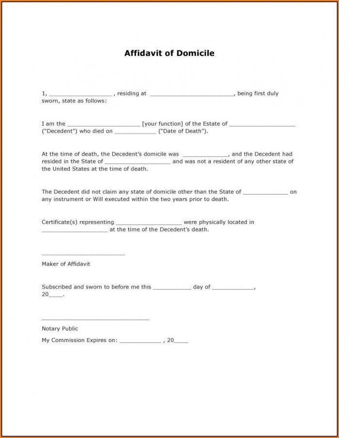 Wells Fargo Affidavit Of Domicile Affidavit Domicile form California form Resume