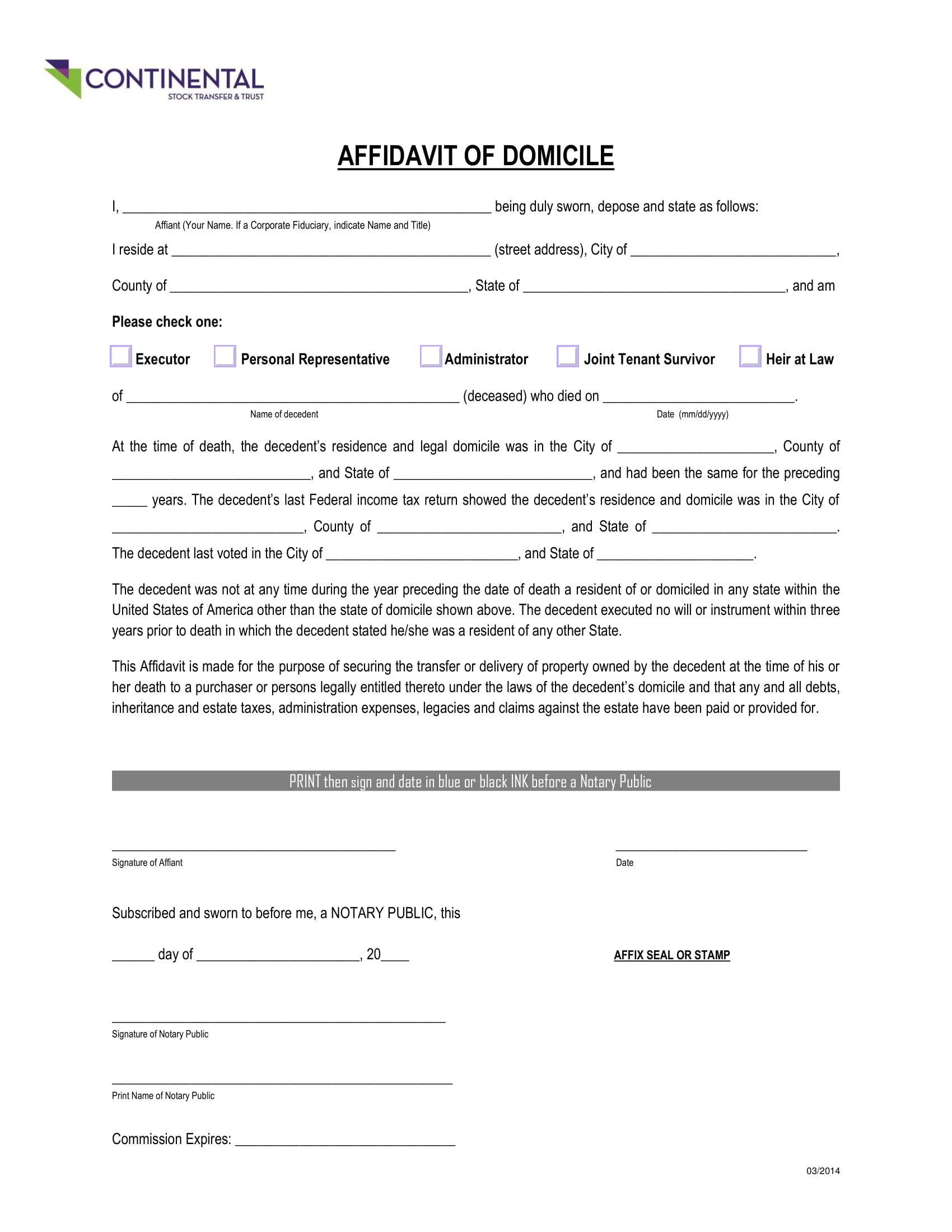 Wells Fargo Affidavit Of Domicile Domicile Letter Sample