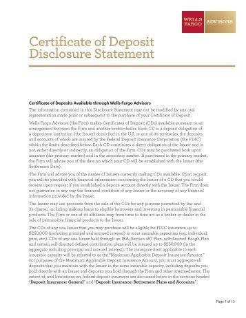 Wells Fargo Affidavit Of Domicile See Sample Deposit Certificate Logitas