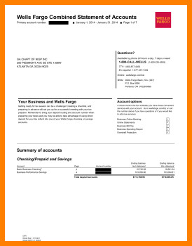 Wells Fargo Bank Statement Template 7 Wells Fargo Statement Of Account