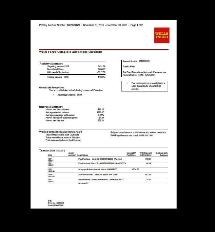 Wells Fargo Bank Statement Template Bank Statement Wells Fargo Template Fake Custom