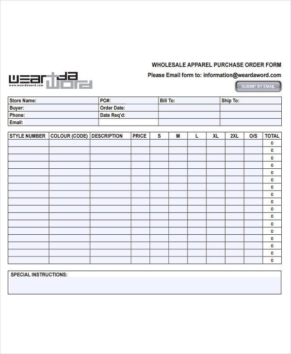 Wholesale order form Template 7 Fashion order forms Free Sample Example format