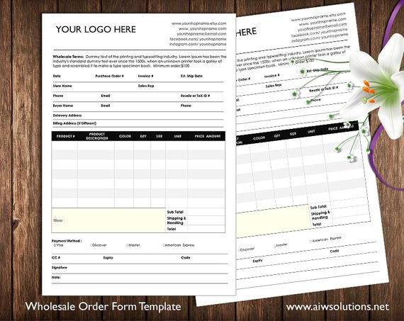 Wholesale order form Template order form and Price Sheet On One Page wholesale by