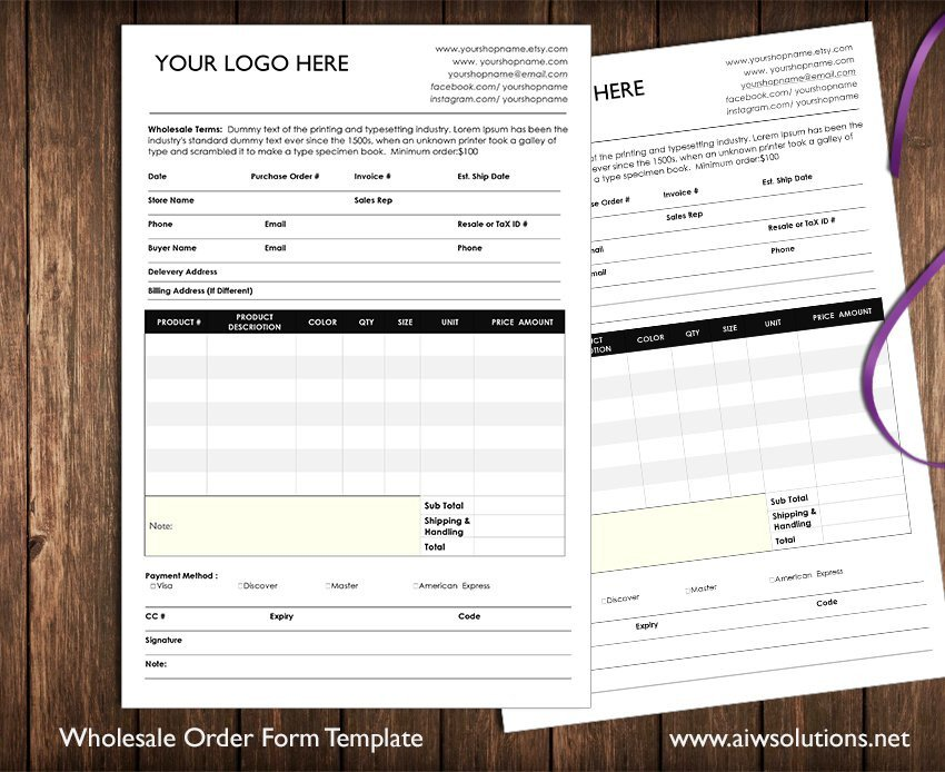 Wholesale order form Template wholesale order form Stationery Templates Creative Market