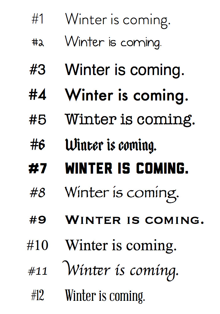 Winter is Coming Font 29 Typography — Brenden Lee • Teacher