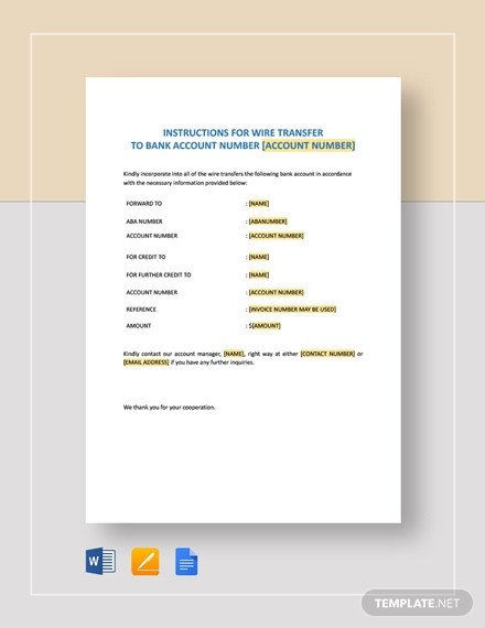 Wire Transfer Instructions Template 133 Free form Templates [download Ready Made Samples