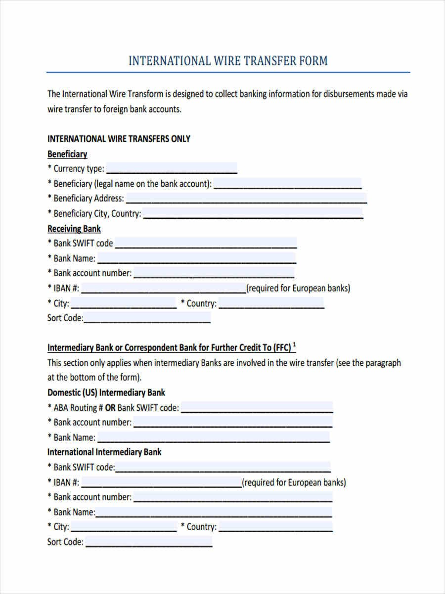 Wire Transfer Instructions Template 7 Wire Transfer forms Free Sample Example format Download