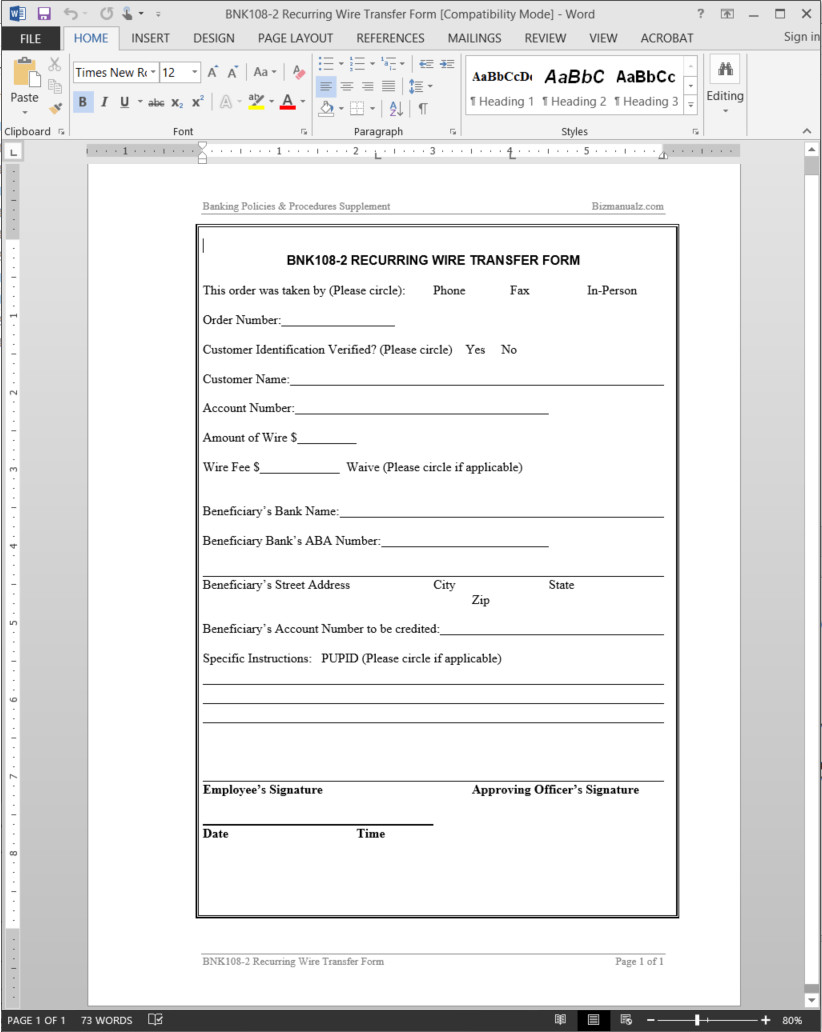 Wire Transfer Instructions Template Recurring Wire Transfer form Template