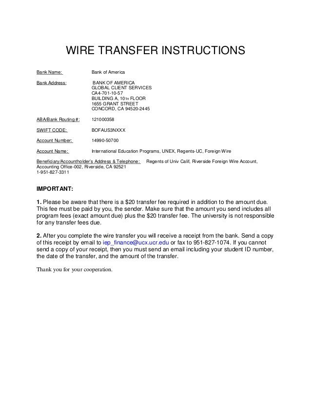 Wire Transfer Instructions Template University Of California Riverside Wire Transfer B Of A